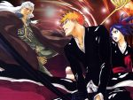 1girl 2boys bankai bleach bleach:_memories_of_nobody blue_hair cape ganryuu kubo_taito kurosaki_ichigo long_hair movie_poster multiple_boys official_art orange_hair ponytail poster senna short_hair spiky_hair sword wallpaper weapon white_hair