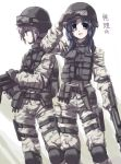 2girls :d asakura_ryouko belt_pouch blue_eyes blue_hair camouflage gloves goggles goggles_on_head gun helmet knee_pads knife lavender_hair load_bearing_vest long_hair long_sleeves looking_at_viewer military multiple_girls nagato_yuki open_mouth shading_eyes sheath sheathed short_hair smile suzumiya_haruhi_no_yuuutsu tokyo_(great_akuta) weapon yellow_eyes