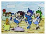 2k-tan 6+girls blue_skirt glasses hoshimaru jpeg_artifacts lowres me-tan multiple_girls narutaru os-tan parody skirt xp-tan