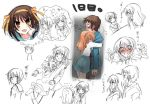 1boy 4girls asahina_mikuru brown_hair harmonia hug kyon kyon_no_imouto multiple_girls nagato_yuki short_hair suzumiya_haruhi suzumiya_haruhi_no_yuuutsu