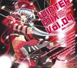 1girl guitar hat instrument long_hair navel open_mouth red_eyes refeia rumblefish sg silver_hair solo