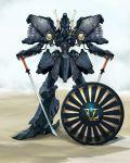 brockary dual_wielding five_star_stories mecha mortar_headd no_humans sentou_mecha_xabungle shield sword vatshu vatshu_the_black_knight weapon