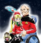 1boy 1girl bald blonde_hair charles_xavier cosplay crossover dual_persona jean-luc_picard jean_luc_picard kunkun marvel morning_rozen_time mugihito parody patrick_stewart picard rozen_maiden seiyuu_connection shinku star_trek star_trek:_the_next_generation uss_enterprise what wheelchair william_riker william_riker_(cosplay) x-men