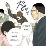 /\/\/\ 1girl 3boys black_hair brown_hair death_note english glasses hair_over_eyes hard_translated lowres multiple_boys necktie no_eyes parody pencil short_hair sitting student sweatdrop text translated writing yagami_light
