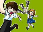 1boy 1girl animated animated_gif billhook hatchet higurashi_no_naku_koro_ni lowres maebara_keiichi ryuuguu_rena school_uniform serafuku
