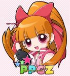 1girl :d akazutsumi_momoko bare_shoulders black_gloves bow fingerless_gloves gloves hair_bow hair_ribbon hyper_blossom long_hair looking_at_viewer open_mouth orange_hair pink_eyes ponytail portrait powerpuff_girls powerpuff_girls_z red_bow red_eyes ribbon sleeveless smile solo thumbs_up upper_body vest