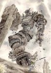 1boy attack colossus fighting gaius game_console male_focus playstation_2 shadow_of_the_colossus size_difference sword terumidot506 traditional_media video_game wander watercolor_(medium) weapon