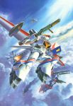80s battle clouds d-1 d-2 dragonar fire flying gun highres kikou_senki_dragonar mecha no_humans official_art oldschool production_art rifle ryukow_masseu weapon
