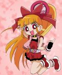 1girl akazutsumi_momoko bangs belt black_gloves blunt_bangs bow buckle dress earrings fingerless_gloves full_body gloves hair_bow hair_ribbon hyper_blossom index_finger_raised jewelry jumping looking_at_viewer lowres orange_hair ponytail powerpuff_girls powerpuff_girls_z red_bow red_dress red_eyes ribbon solo