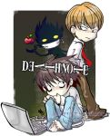 2boys apple bags_under_eyes barefoot brown_hair chibi computer copyright_name dated death_note food fruit grin l_(death_note) laptop looking_back male_focus multiple_boys necktie ryuk short_hair sitting smile yagami_light