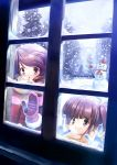 2girls :o against_glass breath brown_eyes brown_hair gloves hanpen mittens multiple_girls original scarf smile snow snowing snowman tree window