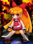 1girl akazutsumi_momoko axe bow cartoon_network crazy crazy_eyes dual_wielding hyper_blossom long_hair orange_hair ponytail powerpuff_girls powerpuff_girls_z red_eyes solo weapon