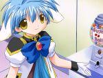 00s 1girl animal_ears blue_hair broccoli_(company) bubblegum candy galaxy_angel game_cg gumballs kanan mint_blancmanche solo yellow_eyes