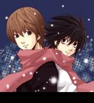 2boys bags_under_eyes black_eyes black_hair brown_eyes brown_hair death_note l_(death_note) lowres male_focus multiple_boys scarf short_hair smile snow snowing yagami_light