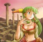 1girl breasts cleavage feena_(grandia) game_arts grandia grandia_i green_eyes green_hair jewelry kiichi midriff necklace ruins signature sky solo wind