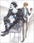 2boys apple bottle death_note food fruit holding holding_fruit male_focus multiple_boys ryuk shop shopping shopping_cart supermarket yagami_light