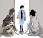 3boys cuffs death_note handcuffs l_(death_note) lowres matsuda_touta multiple_boys musical_note prank yagami_light