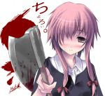 1girl axe blood blush gasai_yuno hatchet kantoku mirai_nikki solo weapon