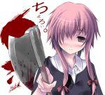 1girl axe blood blush gasai_yuno hatchet kantoku mirai_nikki solo weapon