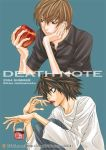 2boys apple bags_under_eyes black_eyes black_hair black_shirt blue_background brown_eyes brown_hair collared_shirt copyright_name crazy_eyes death_note dress_shirt eating finger_to_mouth food fruit jam l_(death_note) long_sleeves male_focus multiple_boys shirt short_hair simple_background spiky_hair upper_body white_shirt yagami_light yaoi