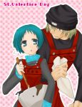 1boy 1girl apron aqua_eyes aqua_hair aragaki_shinjirou atlus beanie brown_hair cooking hat persona persona_3 yamagishi_fuuka