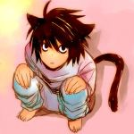 1boy animal_ears bags_under_eyes cat_ears death_note l_(death_note) l_lawliet lowres male_focus solo