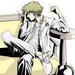 >aliases 1boy 90s cigarette cowboy_bebop lowres male_focus sitting smoking solo spike_spiegel white_background