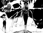 1girl bleach breasts cat dark_skin kubo_taito monochrome ponytail shihouin_yoruichi shihouin_yoruichi_(cat) sideboob wallpaper