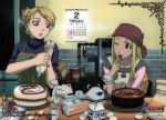00s 2girls apron bandanna black_hayate blonde_hair blue_eyes brown_eyes cake calendar calendar_(object) cooking den_(fma) dog earrings egg folded_ponytail food fullmetal_alchemist icing jewelry kitchen long_hair multiple_girls official_art one_eye_closed pastry pastry_bag riza_hawkeye shiba_inu valentine wink winry_rockbell