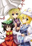 3girls animal_ears blonde_hair brown_hair cat_ears chen closed_eyes female hands_in_sleeves hat kurinton long_hair long_sleeves multiple_girls open_mouth outstretched_arms parasol pillow_hat short_hair smile surcoat tabard touhou umbrella violet_eyes wide_sleeves yakumo_ran yakumo_yukari yellow_eyes