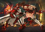 2boys arc_system_works battle brown_hair epic fire guilty_gear ippo male_focus multiple_boys order_sol sol_badguy thigh-highs time_paradox tyrant_rave weapon