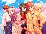 1boy 5girls brother_and_sister duplicate emiya_shirou fate/stay_night fate_(series) fujimura_taiga fuzuki_yoshihiro girl_sandwich illyasviel_von_einzbern matou_sakura multiple_girls saber sandwiched shinai siblings sisters sword tohsaka_rin weapon