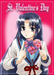 1girl asakura_ryouko lowres school_uniform sentape serafuku solo suzumiya_haruhi_no_yuuutsu valentine