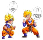 2boys belt blonde_hair chibi closed_eyes color_connection company_connection cosplay costume_switch crossover dragon_ball forehead_protector hard_translated headband look-alike lowres male_focus multiple_boys muscle naruto open_mouth risachantag short_hair shounen_jump smile son_gokuu son_goten son_goten_(cosplay) spiky_hair super_saiyan translated uzumaki_naruto uzumaki_naruto_(cosplay) veins whisker_markings white_background