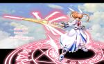1girl bow character_name english fingerless_gloves gloves lyrical_nanoha magazine_(weapon) magic_circle magical_girl mahou_shoujo_lyrical_nanoha mahou_shoujo_lyrical_nanoha_a's polearm raising_heart red_bow redhead shoes solo takamachi_nanoha twintails violet_eyes weapon white_devil winged_shoes wings
