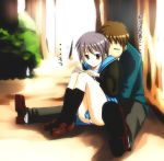1boy 1girl black_legwear book cardigan footwear fukurou hug hug_from_behind kneehighs kyon nagato_yuki panties pantyshot school_uniform serafuku socks suzumiya_haruhi_no_yuuutsu translated underwear