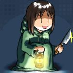 1girl azumanga_daioh brown_hair cosplay final_fantasy kasuga_ayumu knife lantern lowres parody robe simple_background solo tonberry tonberry_(cosplay) |_|