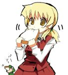 1girl blonde_hair bread eating food hidamari_sketch miyako oekaki pfalz simple_background toast twintails ume-sensei