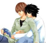 2boys bags_under_eyes death_note game_console gamecube hug hug_from_behind l_(death_note) lowres male_focus multiple_boys video_game yagami_light yaoi