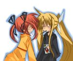 2girls blonde_hair closed_eyes fate_testarossa lyrical_nanoha mahou_shoujo_lyrical_nanoha mahou_shoujo_lyrical_nanoha_a's multiple_girls orange_shirt pocky shirt takamachi_nanoha twintails