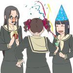 00s 3girls gift glasses hat holding holding_gift hosokawa_kanako lowres maria-sama_ga_miteru matsudaira_touko multiple_girls nijou_noriko omedetou party_hat party_popper yoshitaka