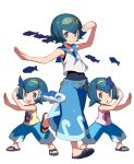 3girls arms_up baggy_pants blue_eyes blue_hair bright_pupils capri_pants fish hairband hou_(pokemon) looking_at_viewer multiple_girls one-piece_swimsuit pants pokemon pokemon_(anime) pokemon_(creature) pokemon_(game) pokemon_sm pokemon_sm_(anime) sandals school_swimsuit short_hair siblings simple_background sisters sleeveless smile sui_(pokemon) suiren_(pokemon) swimsuit swimsuit_under_clothes tonami_kanji trial_captain twins water white_background wide_stance wishiwashi