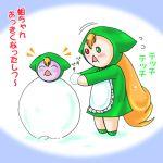 00s cold gradient gradient_background heterochromia jissouseki lowres no_humans rozen_maiden snow snowman