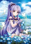 1girl bare_shoulders blue_sky blush butterfly caster caster_lily choker clouds cloudy_sky day dress eyebrows_visible_through_hair fate/grand_order fate_(series) field flower flower_field gloves glowing glowing_butterfly green_gloves green_legwear hair_ornament highres hilo_(joy_hero) holding holding_flower horizon lens_flare long_hair looking_at_viewer mismatched_gloves mismatched_legwear morning_glory ocean outdoors pointy_ears ponytail purple_dress purple_gloves purple_hair purple_legwear sidelocks sitting sky sleeveless sleeveless_dress smile solo sparkle sun thigh-highs violet_eyes wariza