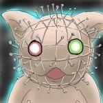 gradient gradient_background hellraiser heterochromia jissouseki lowres no_humans parody pinhead rozen_maiden