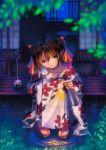 1girl double_bun fireworks highres incense japanese_clothes katori_buta kimono kobayashi_yuji kobayashi_yuuji night senkou_hanabi sitting solo sparkler yukata