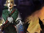 1boy blonde_hair blue_eyes chainmail earrings gauntlets jewelry link male_focus master_sword nekkeau nintendo pointy_ears rain shield solo sword the_legend_of_zelda the_legend_of_zelda:_twilight_princess tunic weapon wet