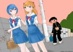 1boy 2girls ayanami_rei fukumitsu_shigeyuki gainaxtop ikari_shinji multiple_girls neon_genesis_evangelion school_uniform serafuku souryuu_asuka_langley