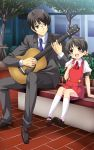 1boy 1girl :d acoustic_guitar age_difference ascot black_eyes black_hair blush brown_eyes buttons child collar collared_shirt cuffs dress duet eye_contact eyebrows eyelashes fingernails formal glasses guitar hair_bobbles hair_ornament hand_on_own_chest highres hiyama_kiyoteru instrument kaai_yuki long_sleeves looking_at_another low_twintails mary_janes music necktie official_art open_mouth pants pinafore_dress plaid playing_instrument puffy_short_sleeves puffy_sleeves sanpaku shirt shoes short_hair short_sleeves singing sitting sleeve_cuffs smile socks suit teeth tree twintails umetani_tarou vocaloid