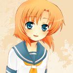 1girl blue_eyes blush female higurashi_no_naku_koro_ni lowres orange_hair ryuuguu_rena school_uniform serafuku short_hair smile solo